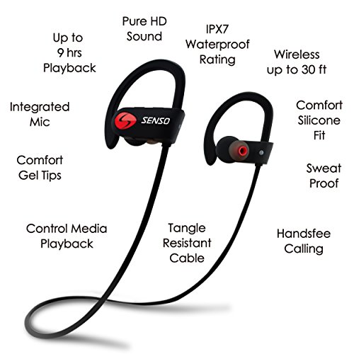 Senso Bluetooth Headphones Best Wireless Sports Earphones W Mic Ipx7 Waterproof Hd Stereo Sweatproof Earbuds For Gym Running Workout 8 Hour Battery Noise Cancelling Headsets Pavos Kart
